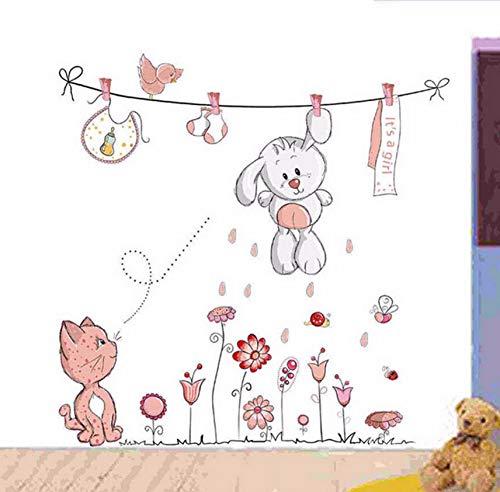 Pink Cartoon Cat Rabbit Flower Wall Sticker For Baby Girls Kids Rooms Home Decor Teddy Bear Umbrella Classroom Wall Decals (Girl Bear Flower Teddy)