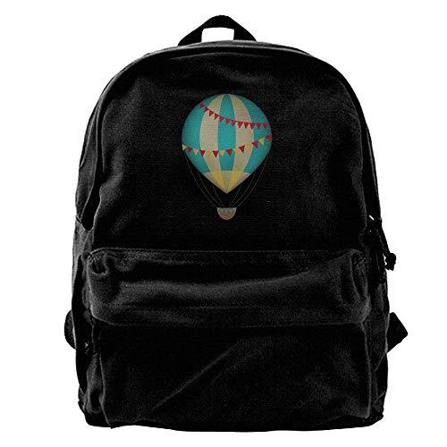 Rucksäcke, Daypacks,Taschen, 50% Off Unisex Classic Canvas Backpack Air Balloon Unique Print Style,Fits 14 Inch Laptop,Durable,Black - Vac-air