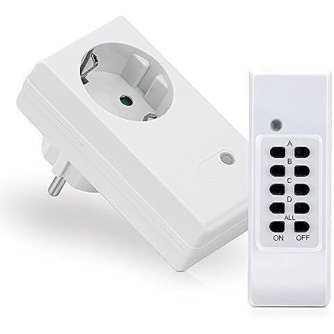 MANAX® Set prese radiocomandate (1+ 1) per ambienti interni (Indoor) | 1x interruttore Wireless a prese Set | 1x telecomando | indicazione di stato a LED | protezione salva-bimbo