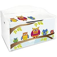 Preisvergleich für Leomark Groß Holz Kindertruhenbank XL Kinderbank Truhenbank Motiv: Eulen. Behälter für Spielzeug, Sitzbank mit Stauraum für Spielsachen