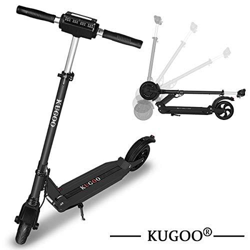 KUGOO S1 Scooter Elettrico Pieghevole, Motore 350 W, Schermo LCD, 3 modalità di velocità, Pneumatico Anti-Scivolo Posteriore Solido da 8 Pollici, Impermeabile IP54 (Nero)