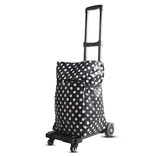 fang zhou Klappgepäckwagen, erweiterte Version Tragbarer Hochleistungs-Aluminium-Handkarren Mini-Doppellager-Dämpfer Robust, für Reisen geeignet (Aluminium Lagerung Rohr)