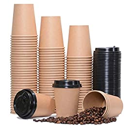 CUPCO Disposable Bio Paper Coffee Cups, 100 Pieces Paper Cups + Free 100 Plastic Lids, 8oz Single Wall Kraft Brown…