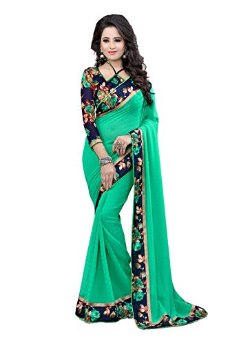 Laxmi Fashion Women's Georgette Saree With Blouse Piece (2129-C_Green_Green)