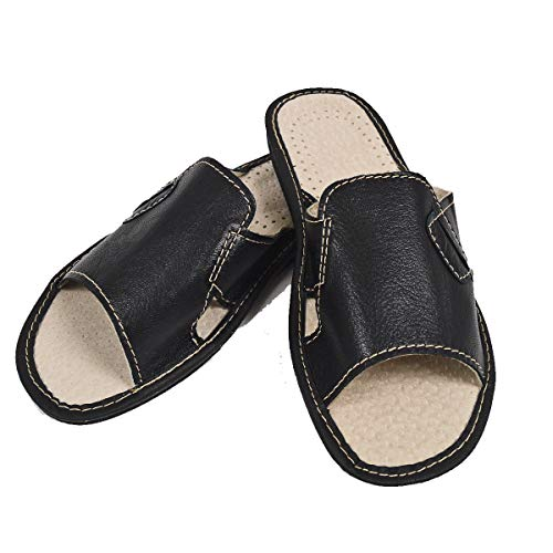 DF-SOFT Herren Herrenpantoffel Pantoffel Hausschuhe Haus Schuhe Leder Pantoffel Lederpantoffel Pantoletten Schlappen Modell 26 (42 EU)