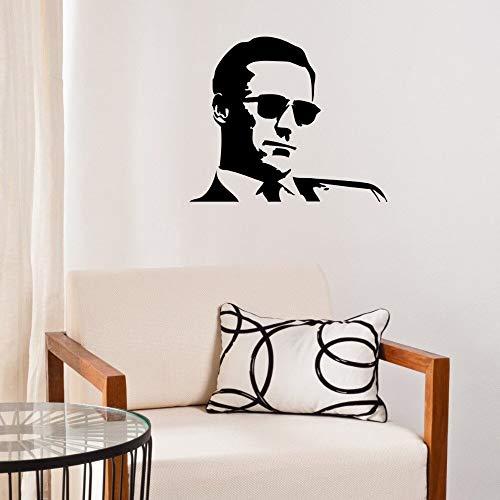 haotong11 Coole Sonnenbrille Mann Wandaufkleber Vinyl Dekoration Wohnzimmer Wandtattoo Kunst Porträt Wandbild DIY Moderne Mann Muster S 66 * 55 cm