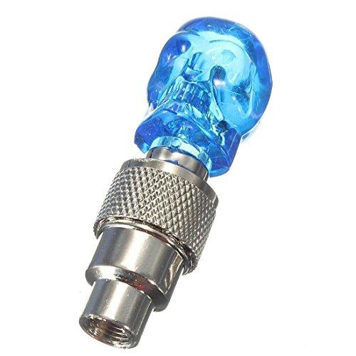 Licht Ventilkappen Rad (Schaedel Ventilkappen / Rad-Lampen - SODIAL(R)LED Licht Ventilkappe Speichenlicht fuer Fahrrad Auto Bike Felgen Reifen Blau)