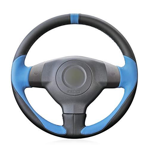 YHEGV Benutzerdefinierte 3D-Design Schwarz Leder Hellblau Kunstleder Auto Lenkradabdeckung für SX4 Alto Old Swift (Lederlenkrad Kaufen Sie Dieses) -