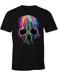 Herren T-Shirt bunter Totenkopf Neon verlaufende Farben Melting Skull Moonworks®