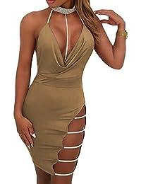 23beb0d03a87 Estivo Donna Vestiti a Tubino Moda Foratura a Caldo Corto Vestito da  Partito Discoteca Club Banchetto Sexy profondità V Collo Halterneck Senza…