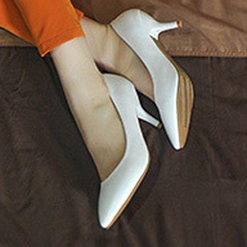 Moderne Femme dans le printemps et été court Tige Semelle Caoutchouc antidérapant pointe de Stiletto Slip On Ascenseur Uni Chaussures Décontracté Confortable Pumps Blanc - Blanc