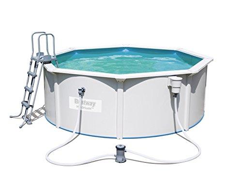 Hydrium Pool Set rund, mit Kartuschenfilterpumpe, Leiter und Bodenplane, 360x120 cm, weiß