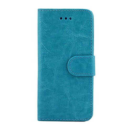 iPhone Case Cover Pour iPhone 7 Crazy Horse Texture Boîtier en cuir flottant horizontal avec porte-cartes et fentes pour cartes et portefeuille et cadre photo ( Color : Blue ) Blue