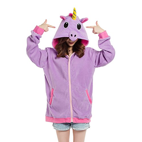 YUWELL Unicorn Adult Hooded Sweatshirt Jumper Hoodie Zipper Jacket Coat Anime Cosplay Costume (Pull Outerwears)