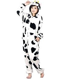 Autek Animaux Onesie unisexe Costume de déguisement Hoodies pyjamas sommeil Porter Vache (PJ-Cow)