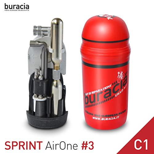 buracia, Kit antiforatura Compatto. Serie Sprint Airone MOD.#3 C1. Officina Tascabile, riparazioni Biciclette Parti di Ricambio. Bici da Corsa. Compatibile con Tutti i portaborracce. Made in Italy.