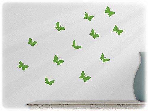 Preisvergleich Produktbild Wandbild Wandsticker 12 süße Schmetterlinge Set 3-lindgrün63