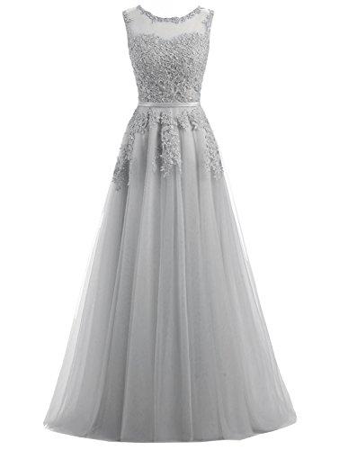 Ever Love A-Linie Lang Spitze T¨¹ll R¨¹ckenfrei Abendkleid Ballkleid Hochzeit Brautjungfernkleid mit Träger-Farbe: Grau, Gr. 36 -