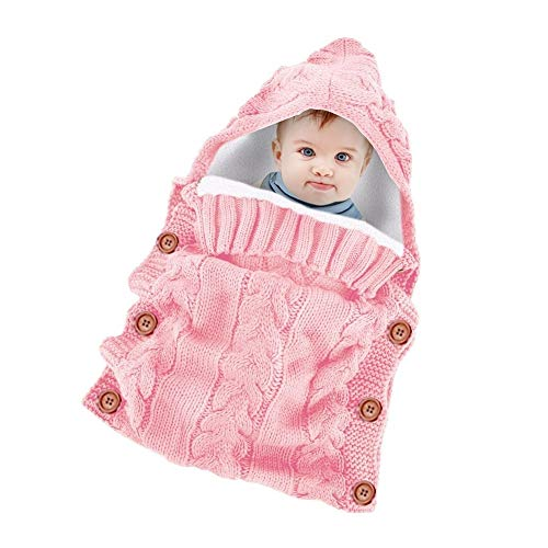 Neugeborenes Baby gestrickt häkeln mit Kapuze Schlafsäcke dicke warme Fleece Swaddle Wrap Windeln Decke Sack (Color : Pink, Size : One Size)