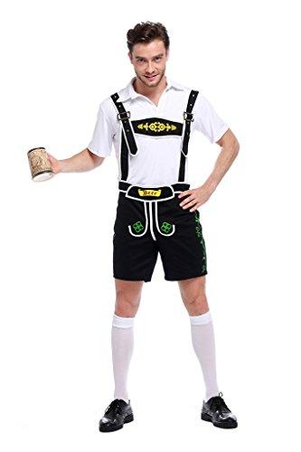 Herren Oktoberfest Kostüm Bayerische Trachtenhose mit Trägern in verschiedenen Farben und Hemd Schwarz (Hosenträgern Männer Kostüme Mit)