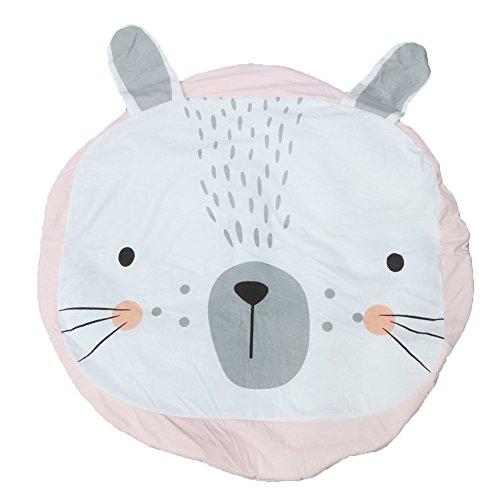 good01Baby Kinder Kawaii Cartoon Kaninchen Krabbeldecke Rund Teppich Fußmatte, Rosa/Weiß