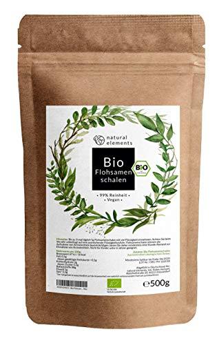 Bio Flohsamenschalen - Premium Qualität: Laborgeprüft, 99+% Reinheit, zertifiziert Bio. Vegan. Low-Carb. Ballaststoffreich. Glutenfrei. Ohne Zusätze. Nachhaltig angebaut - 500g Beutel -