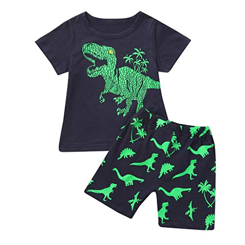 Jugendhj Babys Kleinkind-Baby-Kinder-Jungen-Dinosaurier-Sommer-Pyjamas-Nachtwäsche-Tops-Hosen-Outfits,Kurzärmliger-Drucksommer,Langarm-Plaidstreifen-Print,Grafik-Kapuzenpullover-Känguru-Taschen