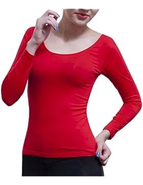 DYLH 2 Pack Camiseta Algodón de manga larga de mujer Camisetas térmicas