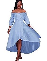 Blansdi Damen Partykleid Elegant Schulterfrei Gestreiftes Hemdkleid Kurzarm  Schlank A-linie Festkleid Abendkleid… bb65f66a92