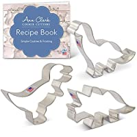 Dinosaur Cookie Cutter Set with Recipe Booklet - 3 Piece - T-Rex, Brontosaurus and Triceratops - Ann Clark - USA Made Steel