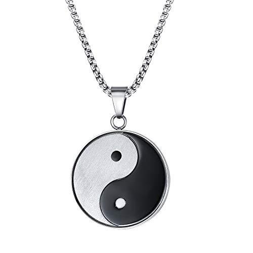 Yang Kostüm Yin Machen - GUYAYA Yin Und Yang Anhänger Halskette Für Männer Edelstahl Klatsch Meditation Yoga Zweifarbigen Herren Schmuck 24 Zoll