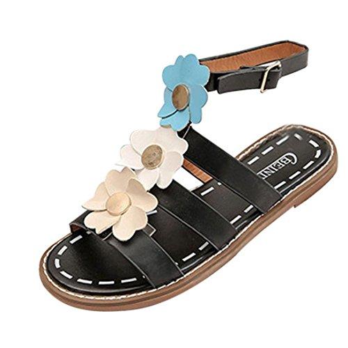 Strand Blumen offene Sandalen Schnallen Frau , Kaiki Damen Sommer Sandalen Schuhe Peep-Toe Low Schuhe Römische Sandalen Damen Flip Flops Black