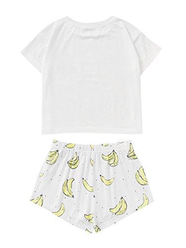 DIDK Damen Cartoonmuster Top und Short Zweiteilig Sleepwear Pyjama Set Muster 4