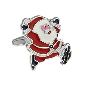 Aeici 1 Paar Manschettenknopf Herren Manschettenknöpfe Edelstahl Weihnachtsmann Manschettenknöpfe Rot