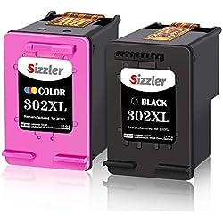 Sizzler Remanufacturéd HP 302XL 302 XL Cartouches d'encre pour HP Deskjet 3630 2130 1110 3636 3632 3633 3635 Envy 4525 4522 4527 4520 4521 4524 Officejet 3830 4650 4657 3833 3831 (Noir, Tri-Couleur)
