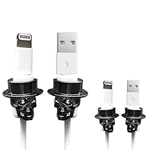 LimitStyle Lightning Saver (Skull-Black Nickel Plating / 4-Pack) - Protective for Apple USB Lightning Cables (for Apple iPhone / iPad mini / iPad Air)