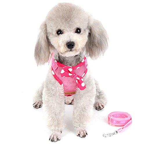 SELMAI Kleine Haustiere Hund Katze Soft Mesh Weste Hundegeschirr und Leine gepunkteten Schleife für Mädchen Keine Pull Verstellbar (Pet-soft-schleife)