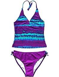 1fc08cb9283 CHICTRY Big Girl's Youth 2 Piece Tie-Dye/Flower Bathing Suit Tankini Swimwear  Swimsuit