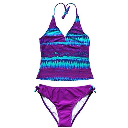 YiZYiF Kinder Mädchen Tankini mit Panty Short Neckholder Badeanzug Mambo Tie-Dye Bikini Set 128 140 152 164 176 (Lila, 122-128 (Herstellergröße: 8A)) (Neckholder-badeanzug Baden)