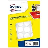 Avery 384 pastilles - Ø30mm - Planche A5 - Blanc (PET30W)
