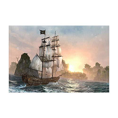 Vrupi Nautical Seaside Segelboot Bad Teppiche Abenteuer Vintage Holz Piratenschiff auf Meer Duschmatte 15,7X23,6 Zoll Fußmatte für Wohnkultur Bad Boden Teppich