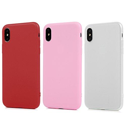 3* iPhone X Cover Antiurto Silicone TPU Gel Gomma - YOKIRIN Opacco Morbido Case Ultra Sottile Flessibile Per iPhone X - Rosso + Blu + Nero Traslucido + Rosso + Rosa