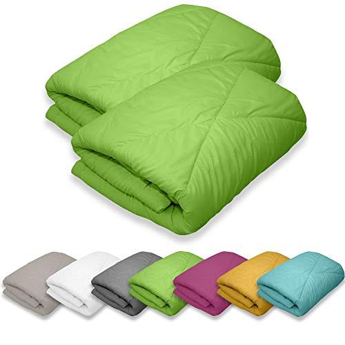 WOMETO 2 Stück Microfaser Sommer Steppbetten 135x200 grün - Camping OekoTex