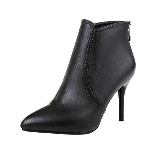 ELEHOT Donna Elelook tacco a spillo 8.5CM Leather Stivali, nero, 40