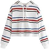 Ieason Women Top, Womens Long Sleeve Stripe Hooded Round Neck Sweatshirt Blouse Tops