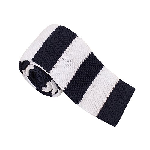 Mens Striped Skinny Knitted Neck Tie in Various Colours Skinny Black Neck Tie