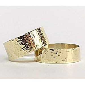 FloweRainboW Breite Trauringe 585 Gold Gehämmert und Texturiert – Hochzeitsringe/Eheringe/Verlobungsringe – Damen/Männer