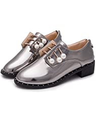 Minetom Mujer Primavera Verano Moda Zapatos Estilo Británico Zapatos Apuntado Zapatos Zipper Cerca