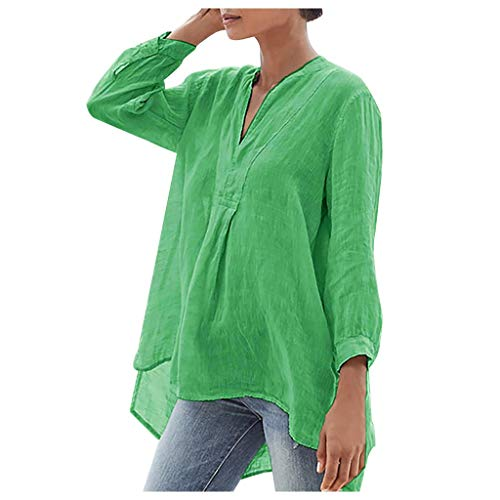 Mymyguoe Damen Locker Hemd Blusenshirt,Frauen Lose Lässige V-Ausschnitt Shirt Bluse Tops Langarmshirt Hemd Blusen Tops Elegant Langarm Tunika Tops Pullover Damen Tunika T-Shirt [Grün,S] (Mutterschaft Krankenpflege Nachtwäsche)