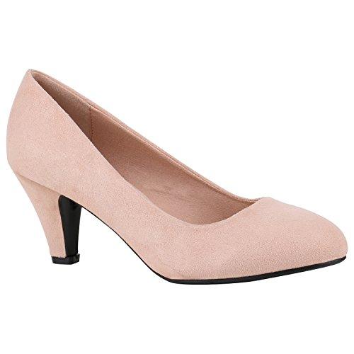 Stiefelparadies Klassische Damen Schuhe Pumps Strass Glitzer Party Metallic Stilettos 156925 Rosa Velours 39 Flandell
